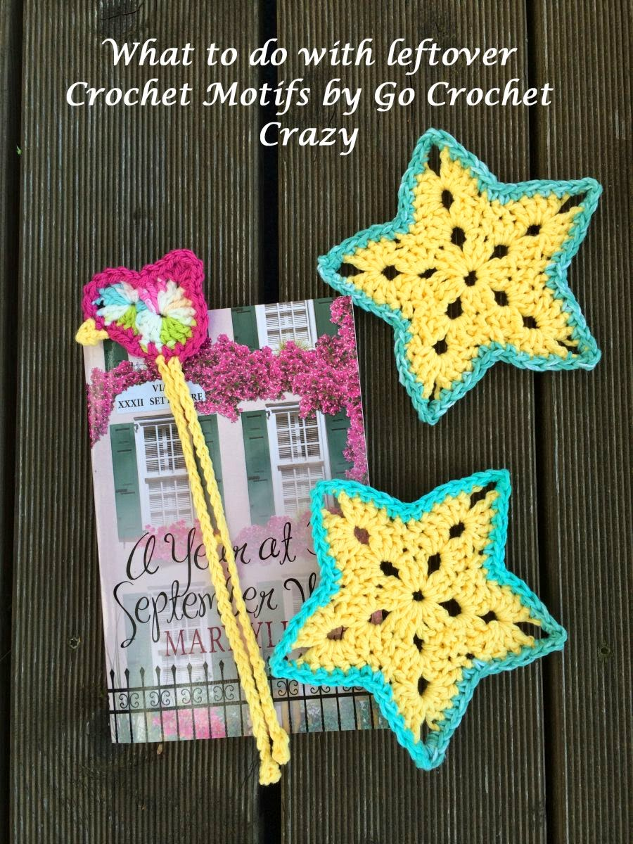 Go Crochet Crazy turns leftover crochet star and crochet bird motifs into a bookmark and coasters.