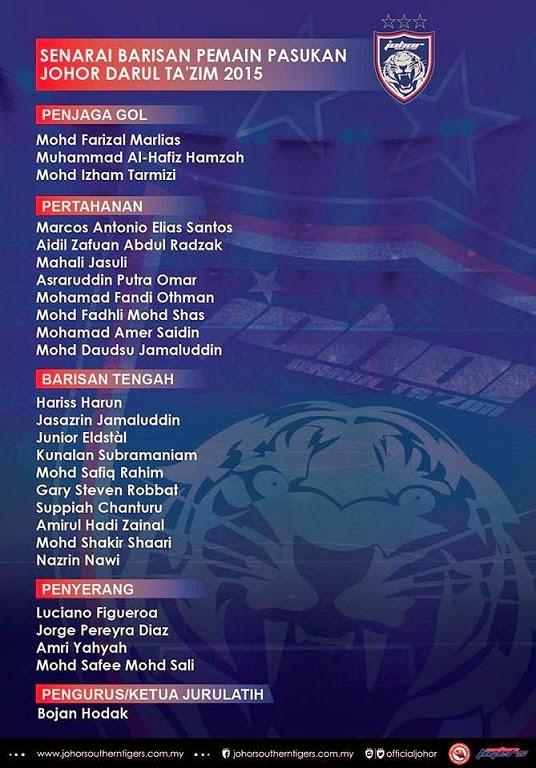 Senarai pemain jdt 2015
