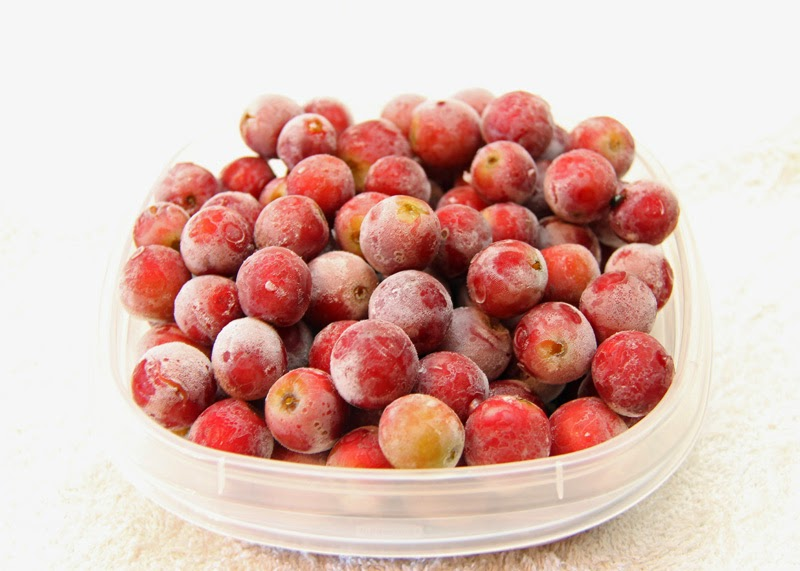 Frozen grapes for smoothies.