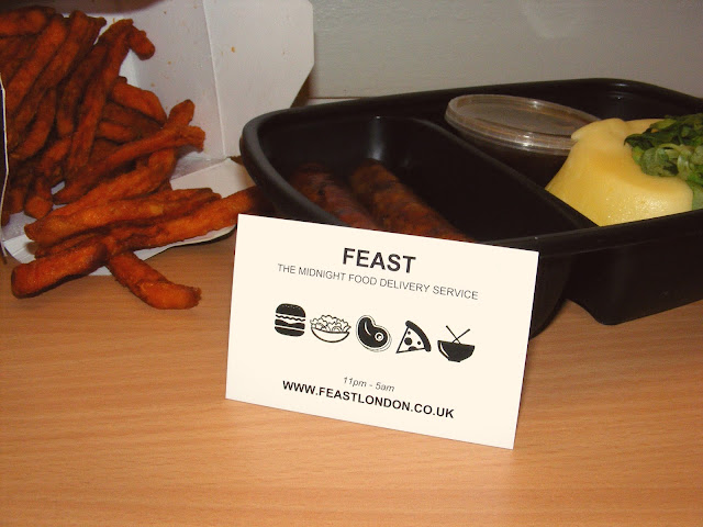 Feast sausages mash and sweet potato fries