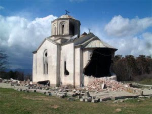 Kosovo Serbian Christian Church in Podujevo, destroyed by Albanians