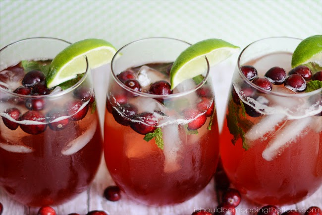 Cranberry and Mint Holiday Punch | Perfect for holiday dinners and gatherings.