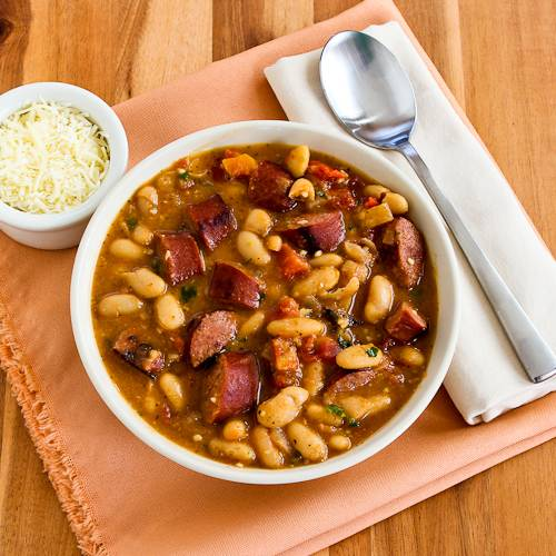 Cannellini Bean and Sausage Stew with Tomatoes and Basil