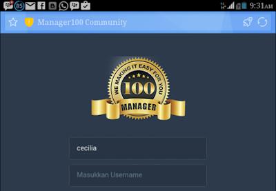Tampilan Login Manager100 di Ponsel Android
