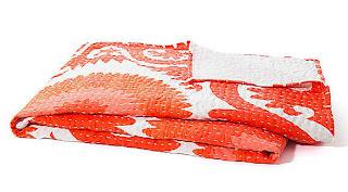 Orange Kantha Ralli Quilt