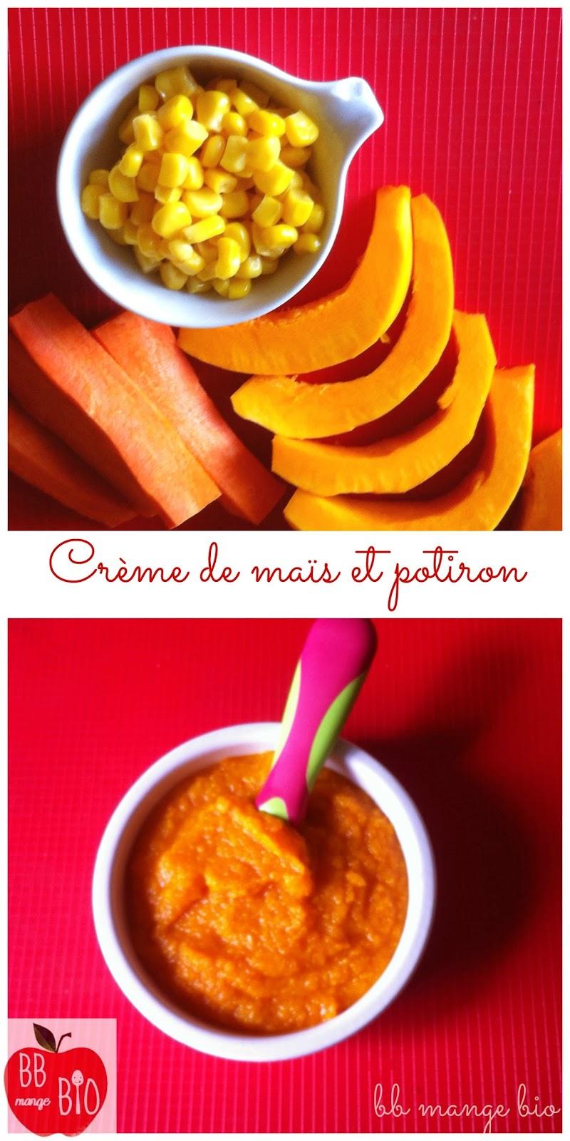 crème de maïs et potiron à partir de 8 mois sans gluten