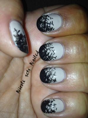 Beige Black Doodle Nails
