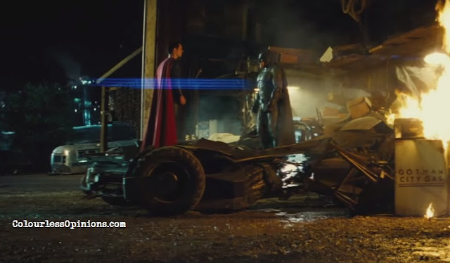 batman v superman still stare down batmobile