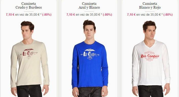 Ejemplos de camisetas para chico de esta oferta de Lee Cooper