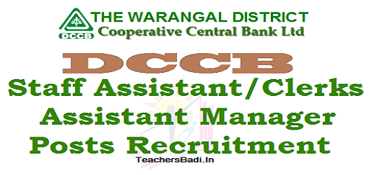 Warangal DCCB,Staff Assistant Clerks,Assistant Manager Posts