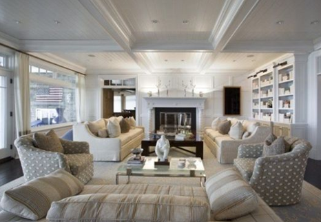 white living room in water mill home in suffolk county, new york