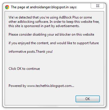 adblock message