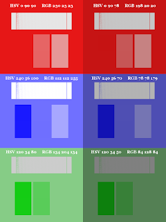 Color Pattern; Small Blocks on Top; Dithered Gradient; Mode Saturation