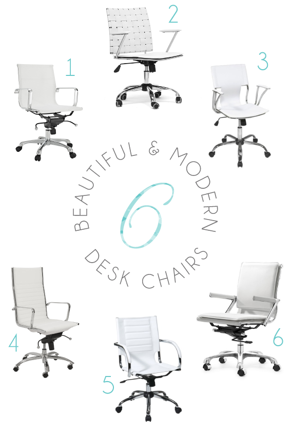 six beautiful modern white office/desk chairs