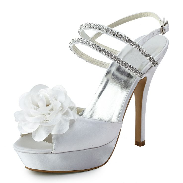 Fashionable Floral Rhinestnes Chain Peep-Toe Wedding Sandals