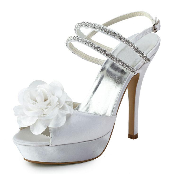 Fashionable Floral Rhinestnes Chain Peep-Toe Wedding Sandals