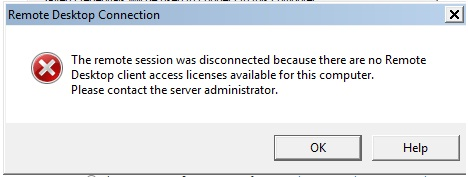 The remote session was disconnected because there are no Remote
