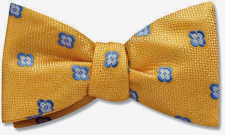 Golden bow tie from Beau Ties Ltd.