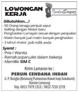 Info Bursa Kerja di Indo Sayur Lampung