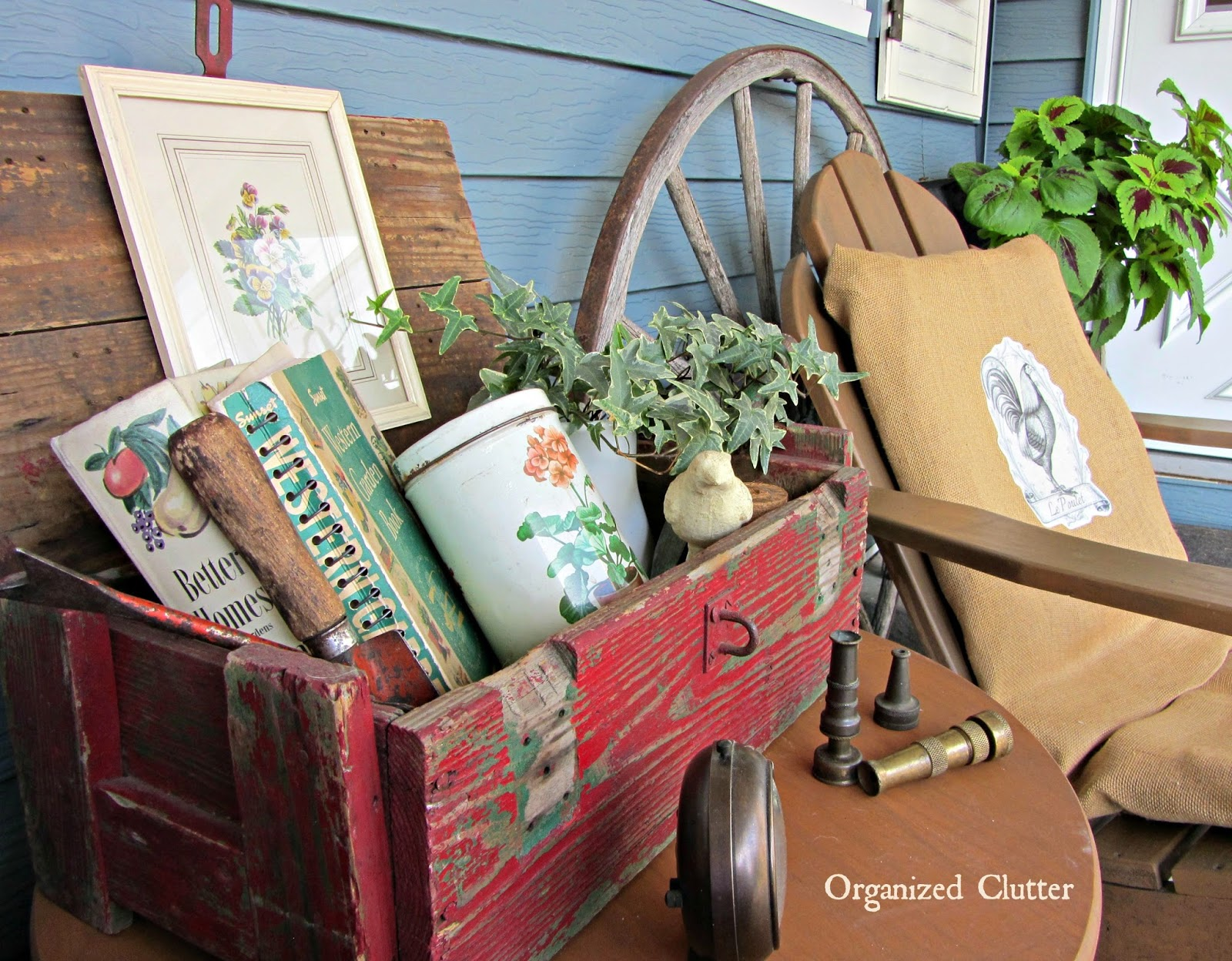 Red Crate Covered Patio Vignette www.organizedclutterqueen.blogspot.com