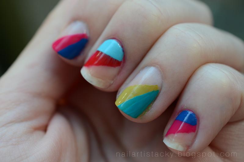 Rainbow Nail Art - Rainbow Triangles - Triangle Nail Art