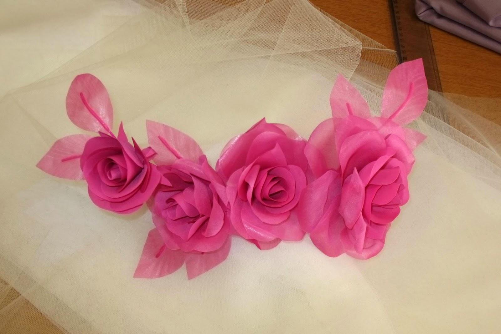 rose in tessuto,rose per abiti da sposa