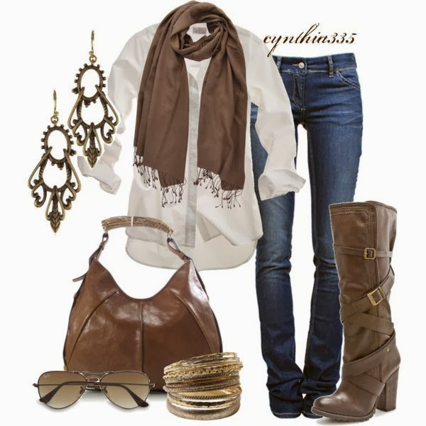 White shirt brown scarf denim pants hand bag wiht long boots