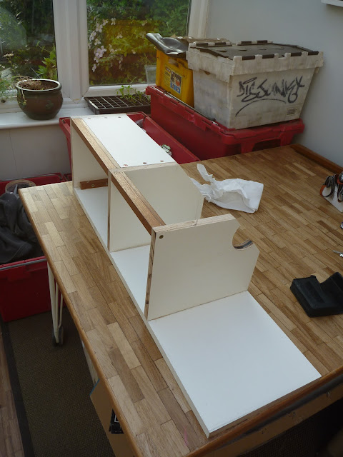 The new console taking shape, constructed from laminated Birch plywood and Teak