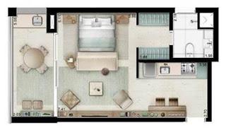 planta apartamento 1 dormitório pedra faria lima