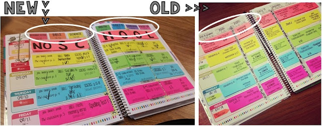 Lesson planning with post-it notes in the Erin Condren Teacher Planner
