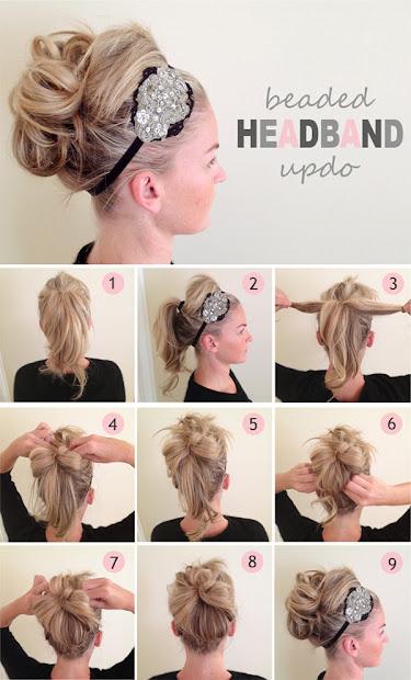 beaded headband updo little