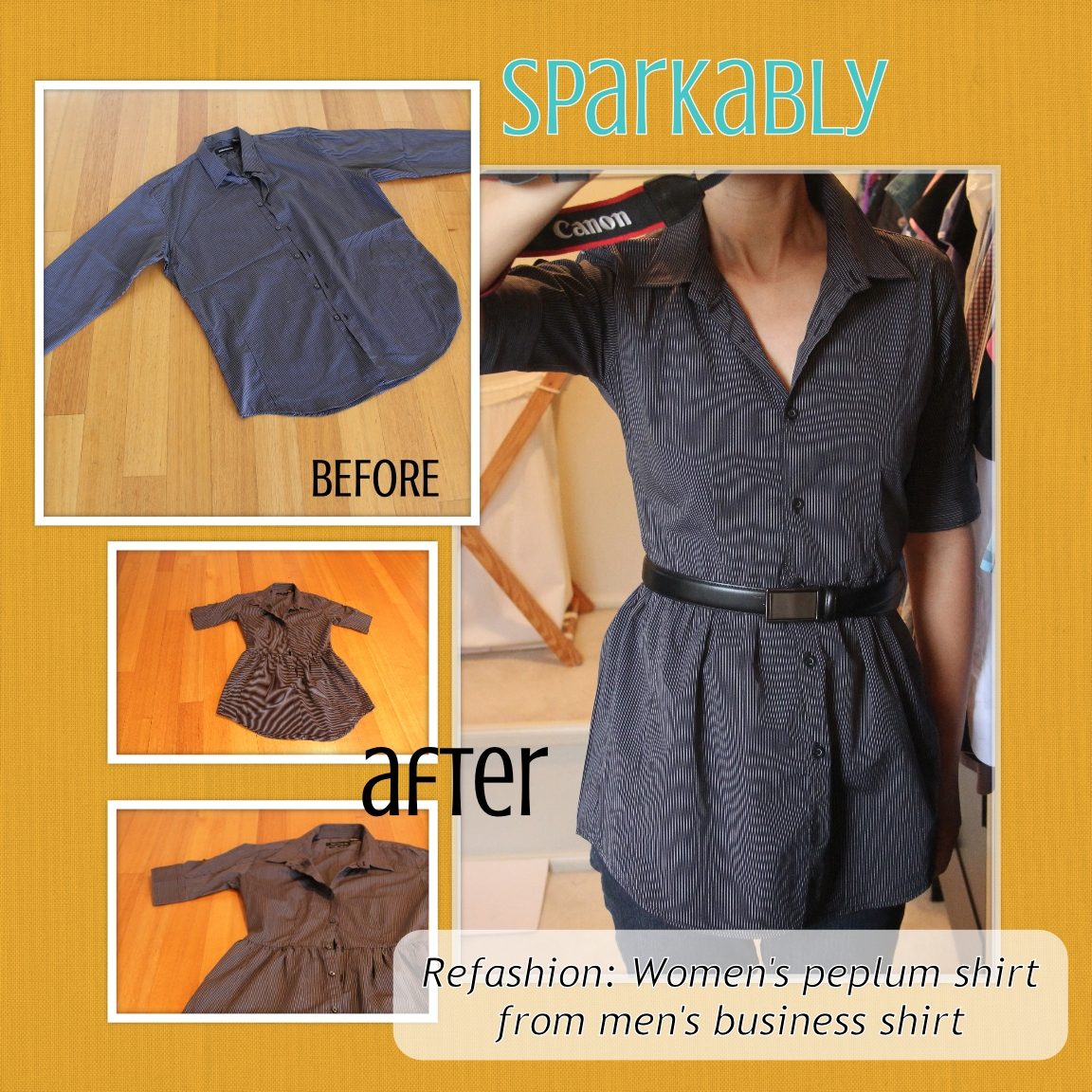 SparkablyRefashion TutorialMens shirt to womens peplum shirt
