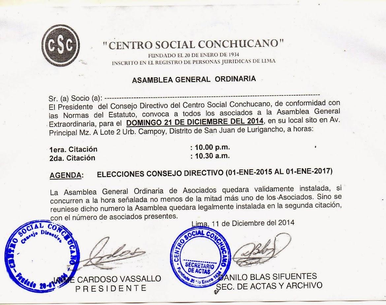 ELECCIONES CONSEJO DIRECTIVO PERIODO 01-ENE-2015 AL 31-DIC-2016