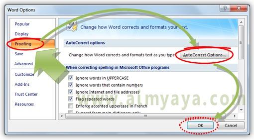 Gambar: Cara mengatur opsi untuk hyperlink otomatis di Microsoft Word