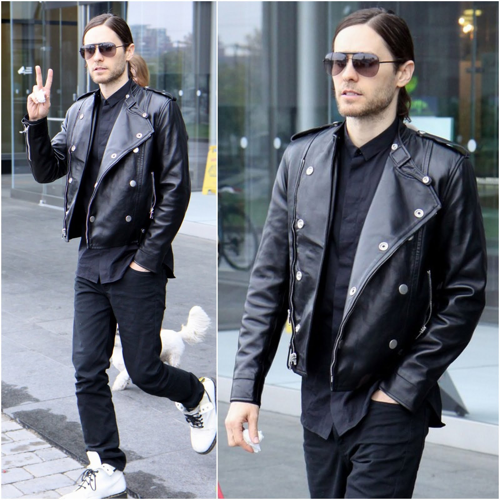 00O00 Menswear Blog: Jared Leto in Saint Laurent SLIM-FIT LEATHER BIKER JACKET - New York May 2013