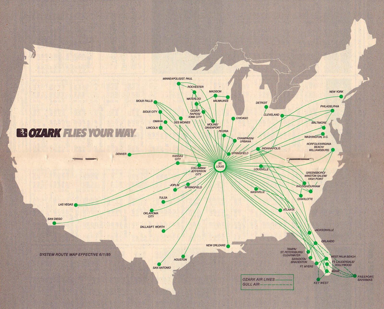 airline timetables ozark air lines june 1985