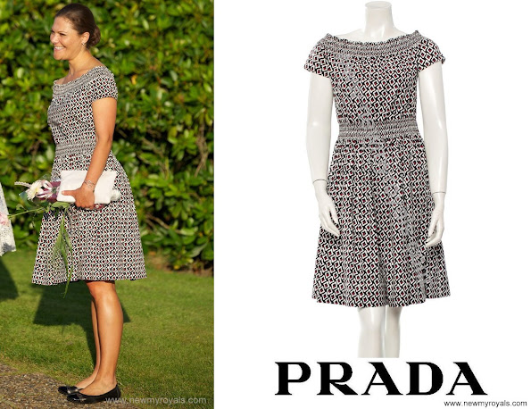 The Pregnant Princess donned a print dress by Prada.