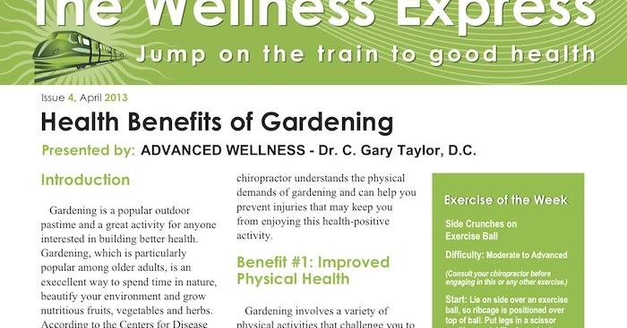 Advanced Wellness Weekly Newsletter Health Benefits Of Gardening