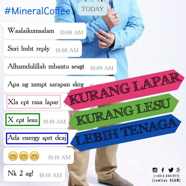 Mineral Coffee, Testimoni, Sihat, Migrain, Kencing Manis, Diet, byrawlins, murah, Garam buluh, tenaga,