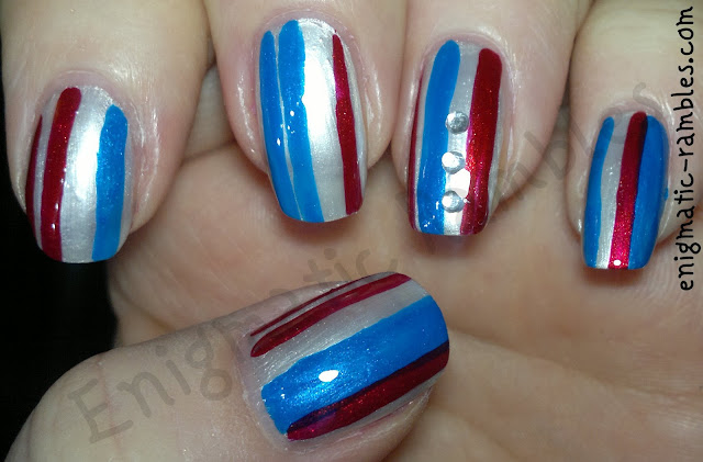tri-colour-nail-challenge-leighton-denny-be-my-berry-primark-glo-baby-glo-barry-m-retro-blue-striped-nails