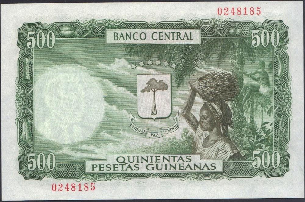 Guinea Equatoriale 500 Pesetas Guineanas 1969 P# 2