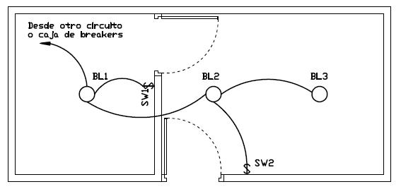 Plano electrico de conexion de dos interruptores simples