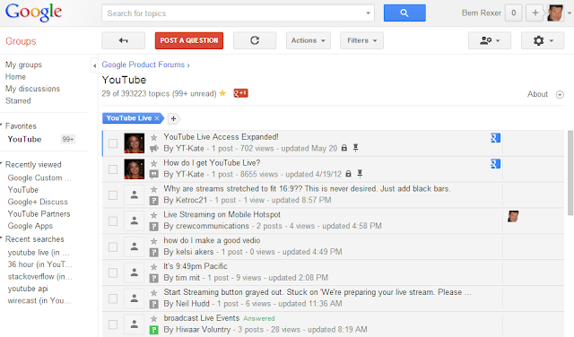 Google Product Forums YouTube Live