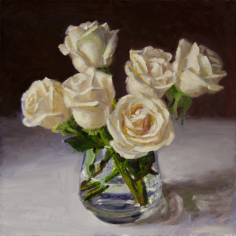 Wang fine art white rose flower original oil painting daily white rose flower original oil painting daily painting contemporary still life mightylinksfo