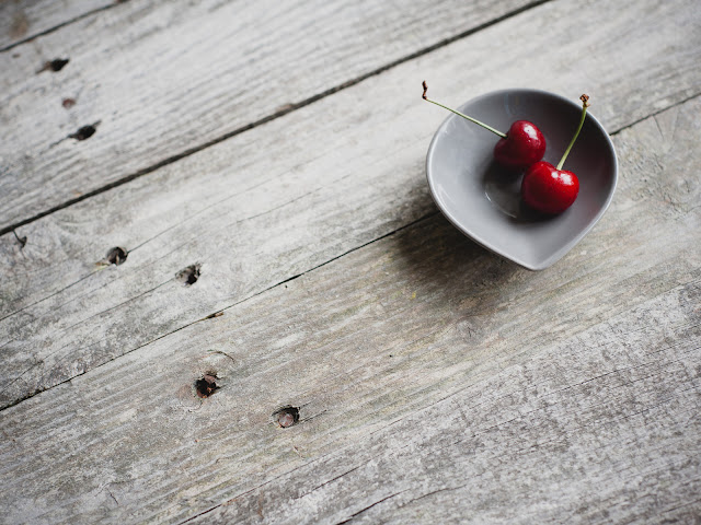 Two Cherries in Bowl Selective Color Photography HD Wallpaper