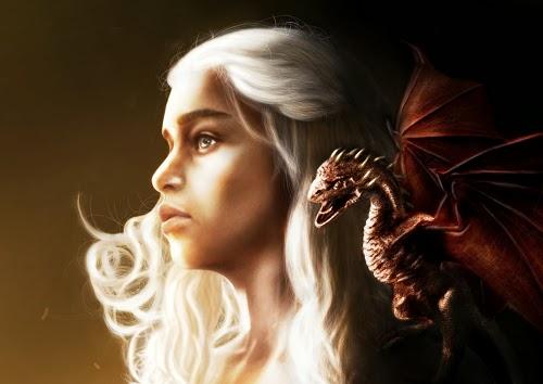 A personagem Daenerys Targaryen, de Game of Thrones, e um de seus dragões, pintados por Daniel Moreira