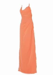 Orange Prom V Neck Dress