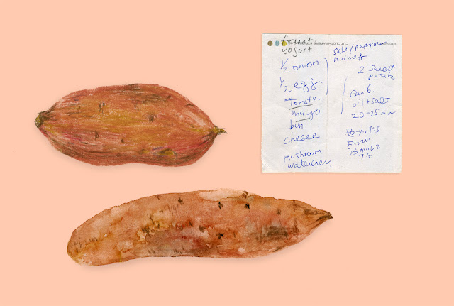 Illustrated shopping list - sweet potato watercolour illustration