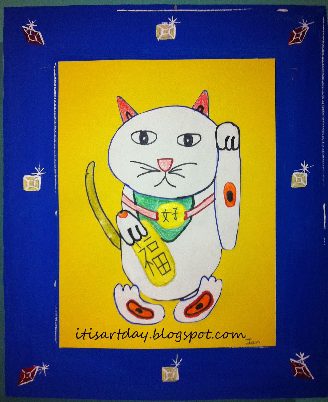 it s art day Maneki Neko Good Luck Cats