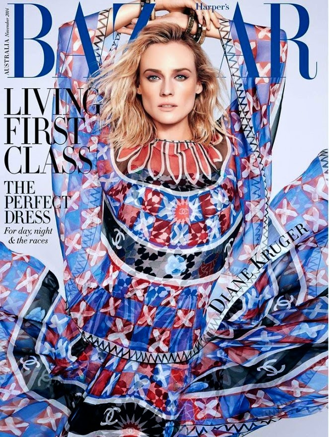 Diane Kruger covers Harper's Bazaar Australia November 2014 in a Chanel dress